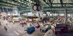 Painting of Waterloo Station by Terence cuneo