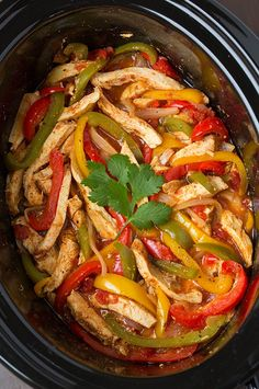 Prep Time: 15 minutes Ingredients 2 lbs boneless skinless chicken breast halves 1 (14.5 oz) can petite diced tomatoes with green chilies 1 red, orange and green bell pepper, julienned 1 large yello…