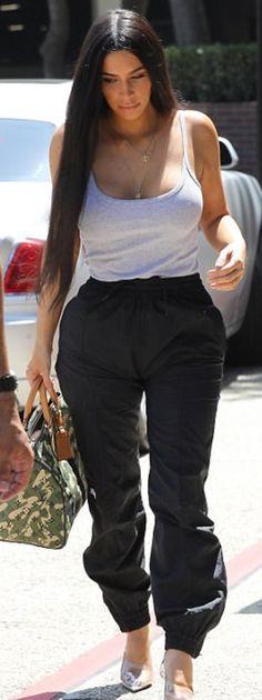 Kim Kardashian: Purse – Louis Vuitton  Shoes – Yeezy  Pants – Vetements X Reebok