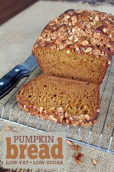 Pumpkin Streusel Bread (low-fat, low-sugar recipe) -- Uses a fraction of the oil and sugar of typical recipes. Sweetened with honey and a bit of brown sugar. Delicious!
