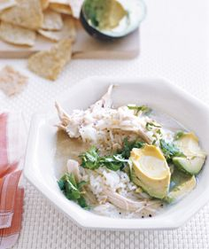 Mexican Chicken Soup-Serve the soup with fresh avocados, cilantro, and lime juice to give it a Mexican flair.