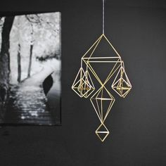 Modern Hanging Mobile No.6  Air Plant Holder  Geometric by HRUSKAA