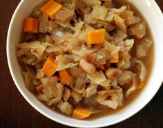 Caramelized Onion and Cabbage Chowder with Sweet Potatoes and White Beans