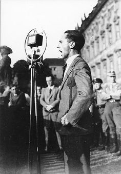 Goebbels speaking at a political rally against the Lausanne Conference (1932). Joseph Goebbels was born in 1897 and died in 1945. He was Hitler's Minister of Propaganda and one of the most important and influential people in Nazi Germany.