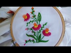 Hand Embroidery: Flower Stitch (Bullion Lazy, French Knot...) - YouTube