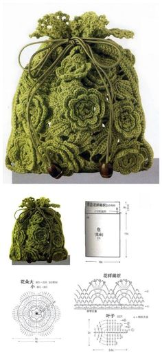 crocheted flowery drawstring bag, chart - bags, bolsa, book, black, prada, for teens bag *ad