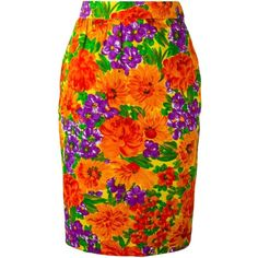 Givenchy Vintage Floral Print Pencil Skirt ($751) ❤ liked on Polyvore featuring skirts, multicolour, givenchy, floral cotton skirt, orange pencil skirt, floral skirt and givenchy skirt