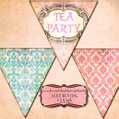 Alice in Wonderland Party Printables | ALICE in WONDERLAND BUNTING digital printable bunting download for ...