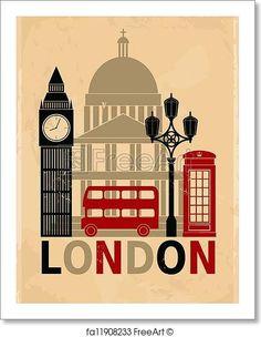 Retro style poster with London symbols and landmarks. Free art print of Vintage London Poster. Poster A3, Retro Poster, London Poster, London Art, Vintage London, Vintage Retro, Free Art Prints, Wall Art Prints, London Illustration