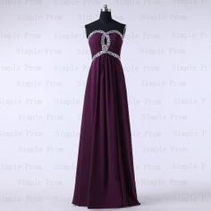 A-line Sweetheart Floor-length Sleeveless Chiffon Purple Long Prom Dress Bridesmaid Dress Evening Dress Party Dress 2013 With Beading