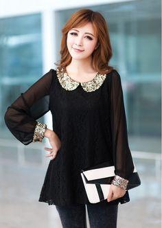 a38cc20dbe8 womens Fashion Chiffon Elegant Blouse Shirts Glitter Tops Plus size Dress