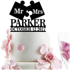 Mr - Mrs Puzzle Personalized Wedding Cake Topper Last Name Date Black Name Puzzle, Personalized Wedding Cake Toppers, Wedding Cakes, Make It Yourself, Wedding Ideas, Foods, Black, Wedding Gown Cakes, Food Food