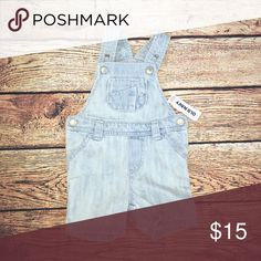New Old Navy Overalls Shorts Cute size 3-6 month light denim overalls shorts Old Navy One Pieces