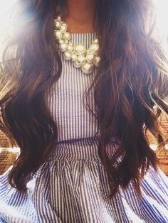 youcancallmequeenp:  seersucker, pearls, and beach hair make for a happy Paige