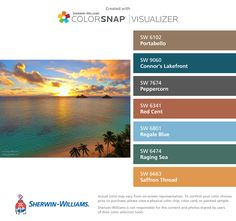 I found these colors with ColorSnap® Visualizer for iPhone by Sherwin-Williams: Portabello (SW 6102), Connor's Lakefront (SW 9060), Peppercorn (SW 7674), Red Cent (SW 6341), Regale Blue (SW 6801), Raging Sea (SW 6474), Saffron Thread (SW 6663).
