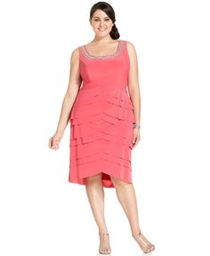 Alex Evenings Plus Size Dress and Jacket, Sleeveless Beaded Tiered - Plus Size Dresses - Plus Sizes - Macy's