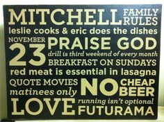 18x24 PAINTED house rules designed with YOUR by WrightAwayDesigns, $89.00