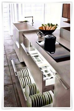 A Collection Of 10 Small But Smart Kitchen Interior Designs Interior Design Kitchen, Kitchen Cupboards, Small Space Kitchen, Modern Kitchen Cabinets, Kitchen Drawers, Minimalist Kitchen, Diy Kitchen, Kitchen Storage, Kitchen Cabinet Drawers
