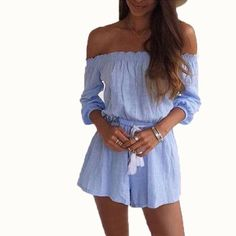 Off Shoulder 3/4 Sleeve Romper Material: Cotton,Polyester Fabric Type: Broadcloth