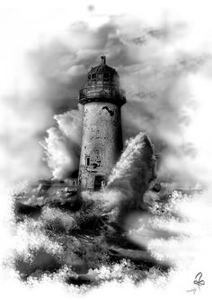 Lighthouse Pictures, Lighthouse Art, Tattoo Sleeve Designs, Sleeve Tattoos, Photoshop Tattoo, Geniale Tattoos, Grey Tattoo, Trendy Tattoos, Future Tattoos