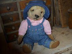 """SWEET OLD 14"""" MOHAIR TEDDY BEAR (STEIFF?) // Photo via ebay"""
