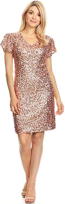 df47526930a Anna-Kaci Womens Sexy Short Sleeve Sequin Bodycon Mini Cocktail Party Club  Dress