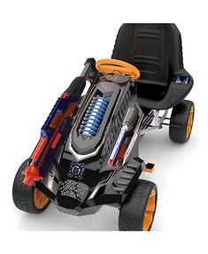 The Hauck Nerf Battle Racer Ride-On Pedal Go-Kart gives children an exhilarating riding experience. Innovative design boasts space for Nerf blasters, brackets and darts. Kids Toys For Boys, Best Kids Toys, Children Toys, Go Kart, Mad Max, Triumph Motorcycles, Pistola Nerf, Nerf Gun Storage, Cool Nerf Guns
