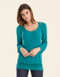 Lace Trim Blouse in Teal by Pepperberry Tops