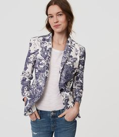 Loft - Botanic Blazer in moonlight ivory (blue and white floral) (petite, regular) | starting in size 00 petite | In an alluring botanic toile motif, suite up in forever chic polish in this impeccably tailored blazer.