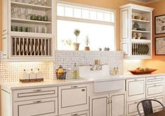 Farmhouse Sink, Open cup shelves, slotted plate storage...perfect