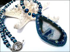Hand Beaded Agate Slice Pendant Cobalt Crystal Teal Pearl Necklace | specialtivity - Jewelry on ArtFire