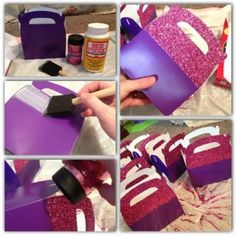 (photo only) DIY Doc McStuffins party favor boxes. Boxes are from perinatal trading, mod podge, and glitter. Third Birthday, 4th Birthday Parties, Baby Birthday, Birthday Ideas, Frozen Birthday, Doc Mcstuffins Birthday Party, Foto Baby, Pony Party, Party Bags