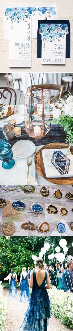Love the Copper candle holder and the pretty rocks as name cards - Blue & Copper Boho Wedding Inspiration