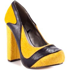 You'll love the spunky look the Leah will give your ensemble. Michael Antonio brings you a classic pump silhouette with bright mustard faux fur upper. Synthetic leather trims this style while a 4 1/2 inch heel and 1 1/4 inch platform deliver height.