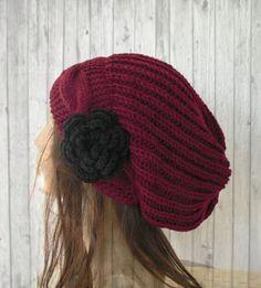 Slouchy Borgoña sombrero sombrero de punto sombrero del por Ebruk
