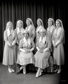 "Washington, D.C., circa 1920s. ""Lewis, R., Mrs., group."" An octet of Red Cross nurses. Harris & Ewing Collection glass negative."