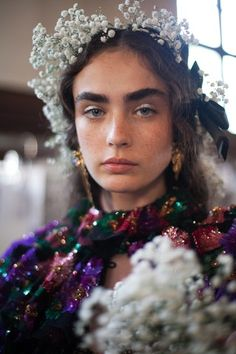 Makeup by James Kaliardos for Rodarte's spring/summer 2018 RTW collection presented at Paris couture week