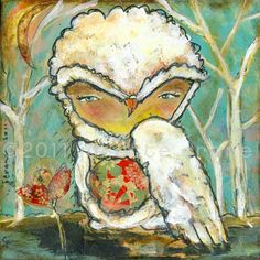 Owl Art Print - inch Print of a Reproduction of the Original Mixed Media Painting Let the Outside In by Juliette Crane Whimsical Owl, Mixed Media Painting, Painting Abstract, Owl Art, Altered Art, Crane, Collage Art, Original Paintings, Owl Paintings