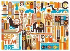 Mister Brown's and Vue Sur la Ville Calendar for the month of September by Fernando Volken Togni