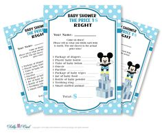 Boy Mickey Mouse Price is Right Game by adlyowlpartyprints on Etsy