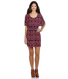 Sequin Hearts DolmanSleeve TribalPrint Dress #Dillards