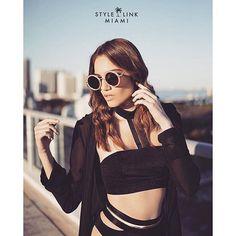 Style Link Miami Fashion Editorial - Black Choker Top Black and Gold High Waisted Bikini