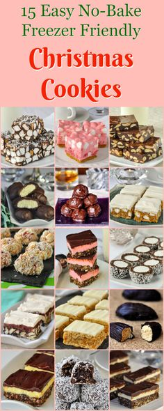 No Bake Christmas Cookies - easy & freezer friendly! A great collection of the most popular no bake cookies that are great at any time of year but particularly at Christmas when you can make them in advance and freeze them.