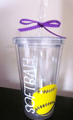 Hey, I found this really awesome Etsy listing at https://www.etsy.com/listing/153643808/personalized-softball-tumbler-with-name
