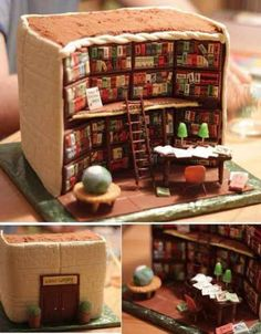 LIBRARY CAKE  - 3 Awesome Decorated Cakes on http://www.bellissimakids.com