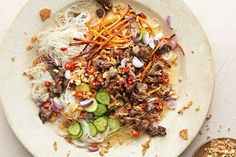 This wok-fried beef salad works best with vermicelli noodles, which easily soaks up the spicy-sour dressing, says Jamie.