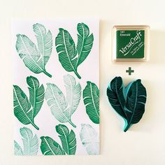 Banana leaves, mini Versacraft emerald ink pad, rubber stamp, gift set, stamp with ink