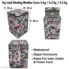 Appliance Covers Stylish Washing Machine Cover For Fully Automatic Top Load  6 kg , 6.2 kg , & 6.5 kg Material: PVC Pattern: Printed Pack: Pack of 1 Product Length: 24 cm Product Breadth: 30 cm Product Height: 3 cm Country of Origin: India Sizes Available: Free Size   Catalog Rating: ★4.3 (478)  Catalog Name: Latest Home Appliance Covers CatalogID_1097033 C131-SC1624 Code: 983-6872770-069