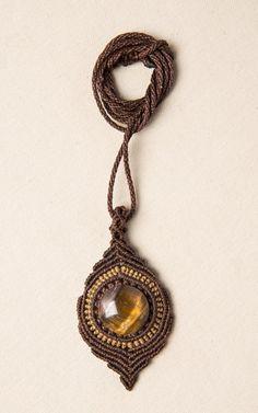 Macrame Tiger Eye Pendant / Necklace / Gemstone / by Amonithe, $23.00