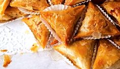These sticky-sweet fried pastries, drenched in a syrup of honey and orange flower water, are typical of the rustic desserts of Tunisia. Almond Pastry, Almond Flower, Blanched Almonds, Phyllo Dough, Fresh Lemon Juice, Sweet Bread, Baked Goods, Kitchens